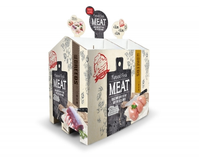 natural fresh meat portfolio maek pallet display hondenvoer worsten